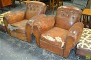 Sale 8235 - Lot 1045 - Pair of Leather Armchairs