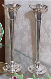 Sale 8308A - Lot 67 - A pair of Art  Deco silverplate trumpet vases. Ht: 22cm