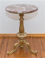 Sale 8338A - Lot 93 - A carved gilt and marble topped occasional table, H 74 x D 50cm