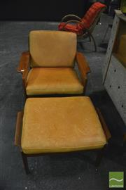 Sale 8350 - Lot 1024 - Danish Komfort Lounge Chair and Stool