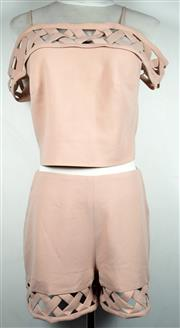 Sale 8460F - Lot 96 - A Yuna blush pink off the shoulder top with cut out design with matching shorts, size M