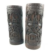 Sale 8545N - Lot 77 - Pair of Ornately Carved Bamboo Vases (H: 31cm)