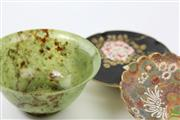 Sale 8586 - Lot 106 - Cloisonne Dish Together With Green Natural Form Bowl & Chinese Dish