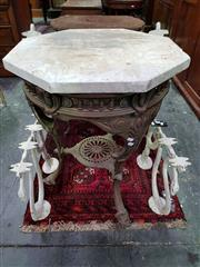 Sale 8653 - Lot 1043 - Edwardian Style Cast Iron Garden Table, with partial bloom finish, with gallery frieze & pierced lower shelf, having British patent...