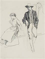 Sale 8732A - Lot 5050 - Benjamin Edwin Minns (1864 - 1937) - Young Couple 21 x 16cm