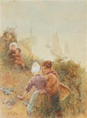 Sale 8813 - Lot 597 - Hector Caffieri (1847 - 1932) - Onlookers by the Sea 35 x 25.5cm