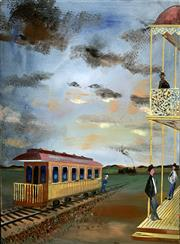 Sale 8894A - Lot 5008 - Bernard Hesling (1905 - 1987) - Train Station at the Inn, 1959 58.5 x 43.5 cm