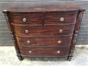 Sale 9048 - Lot 1081 - Regency Mahogany Bow Front Chest of Five Drawers, flanked by turned half-columns & on turned legs (h:102 x w:107 x d:50cm)
