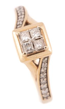 Sale 9107J - Lot 369 - A 9CT GOLD DIAMOND RING; square top set with 4 princess cut diamonds totalling approx. 0.24ct, P1 to split shoulders set with 16 rou.