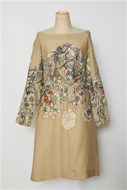 Sale 9095F - Lot 78 - A Cacharel a-line swing vintage dress with long sleeves, in beige with floral motif, size 12-14.