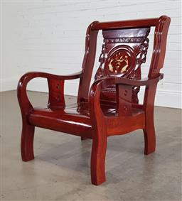 Sale 9218 - Lot 1027 - Oriental rosewood mother of pearl inlaid chair (h:93 w:71 d:70cm)