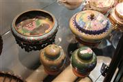Sale 8195 - Lot 96 - Cloisonne Bowl on Stand, Another & 2 Lidded Jars