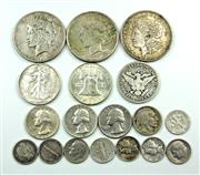 Sale 8299C - Lot 535 - UNITED STATES OF AMERICA SILVER COINS; 1 x 1921 Morgan Dollar, 1 x 1924-S Peace Dollar , 1 x 1928 Peace Dollar, 1945-S Walking Liber...