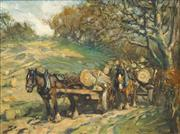 Sale 8538 - Lot 568 - George Smith (1870 - 1934) - Hauling Timber 29 x 40cm