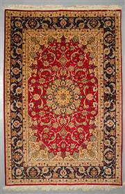Sale 8539C - Lot 74 - Extra Fine Persian Isfahan Silk Inlay 230cm x 155cm