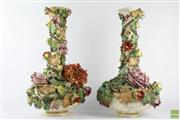 Sale 8572 - Lot 86 - Large Pair Of Floral Probably Italian Vases