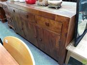 Sale 8620 - Lot 1061 - Hardwood 3 Door 3 Drawer Sideboard with Mirror Back Attached to Back (H: 85 W: 150 D: 45cm)