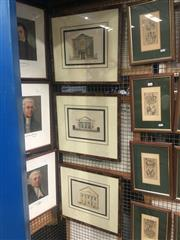Sale 8751 - Lot 2075 - 3 Church Architectural Coloured Engravings