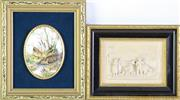 Sale 8972M - Lot 689 - Framed staffordshire Plaque And A Resin Example (17cm x 14cm)