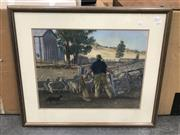 Sale 9016 - Lot 2073 - Artist Unknown Gathering the Sheep pastel, 74 x 88cm, signed