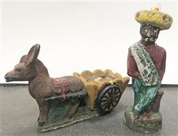 Sale 9102 - Lot 1248 - Concrete Statue of Farmer together with a Donkey Pulling Cart - damaged
