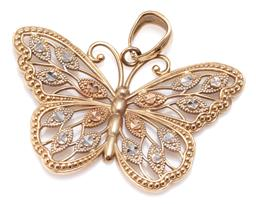 Sale 9156J - Lot 396 - A 9CT THREE TONE GOLD BUTTERFLY PENDANT; filigree style butterfly in yellow, pink and white gold, size 26.5 x 17mm, wt. 1.23g.