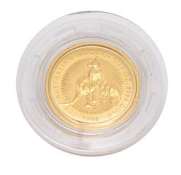 Sale 9186 - Lot 378 - AN AUSTRALIAN FIVE DOLLAR 1/20.OZ FINE GOLD NUGGET PROOF COIN; 1996, size 14 x 14mm, in perspex case with Perth Mint box.