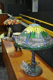 Sale 8013 - Lot 1005 - Two Lead Light Shade Table Lamps