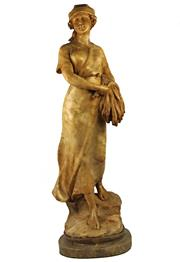 Sale 8057 - Lot 35 - Ferdinando Vichi Harvester Femminile Alabaster Figure