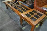 Sale 8087 - Lot 1022 - Coffee Table w Glass Insert Top & 2 Matching Side Tables - A/F