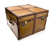 Sale 8202A - Lot 65 - An antique leather bespoke made trunk or coffee table storage box, 60 x 60 x 40cm