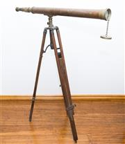 Sale 8338A - Lot 96 - An antique style timber tripod with telescope