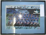 Sale 8404S - Lot 96 - The Shark Pack of 1999 - Cronulla Sutherland colour photo signed in texta, framed