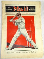 Sale 8460C - Lot 57 - Sydney Mail, Front cover, Wednesday January 30, 1924. Cricketer. Tears repaired. Good.