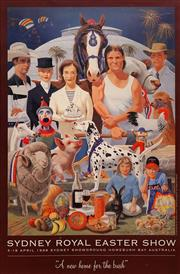 Sale 8666A - Lot 5076 - Frank Knight (1941 - ) - Sydney Royal Easter Show: A New Home for the Bush 51.5 x 78cm