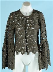 Sale 9090F - Lot 122 - A DECJUBA LONG SLEEVE SHIRT, with fluted sleeves and scoop neck in an olive green floral crochet pattern, size 10