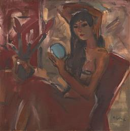 Sale 9118A - Lot 5041 - Pham Luc (1943 - ) - Vietnamese girl with blue mirror , 1990 90 x 99.5 cm
