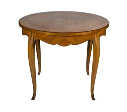 Sale 9123J - Lot 128 - A vintage French marquetry inlaid round shaped coffee table 54 T x 66 W