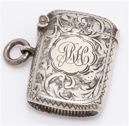 Sale 9180E - Lot 73 - A Victorian hallmarked sterling silver vesta with monogram to front JRH, Chester, c. 1898 by William Neale, Length 3.5cm, weight 13g
