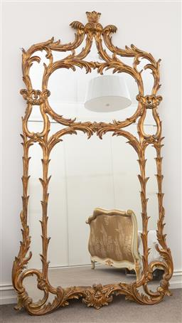 Sale 9160H - Lot 201 - A large continental rococo panelled free standing mirror with gilt acanthus scrolled frame, Height 200cm x Width 114cm