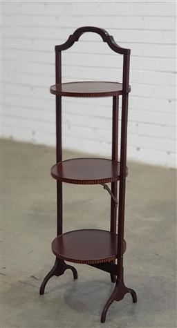 Sale 9179 - Lot 1084 - Early 20th Century Inlaid Mahogany Folding Cake-Stand, of three tiers (h:90cm)