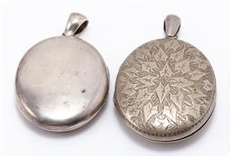 Sale 9180E - Lot 132 - A 900 silver locket (doesnt open) together with a low grade silver example