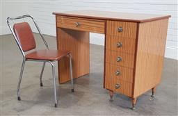 Sale 9188 - Lot 1547 - Timber Art Deco style kneehole desk with a metal framed chair (h:80 w:103 d:53cm)