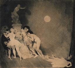 Sale 9195 - Lot 539 - NORMAN LINDSAY (1879 - 1969) Death of Pierrot 1919 drypoint, engraving, etching, soft ground and roulette, No 43 25.5 x 28.5 cm sign...