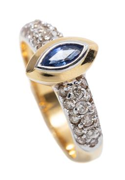 Sale 9253J - Lot 465 - AN 18CT GOLD SAPPHIRE AND DIAMOND RING; bezel set with a marquise cut blue sapphire of approx. 0.34ct to shoulders set with 30 round..
