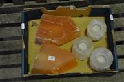 Sale 8129 - Lot 1045 - Selenite 3 candle holder & 2 light shades (5)