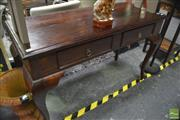 Sale 8338 - Lot 1130 - Timber Hall Table with Two Drawers