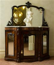 Sale 8418A - Lot 22 - A Victorian rosewood and inlaid mirrored back credenza with three panelled doors revealing a shelved interior, damage to finial, H 1...