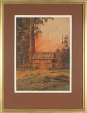 Sale 8881 - Lot 601 - Gladstone Eyre (1862 - 1933) - Pioneers Hut and Bush Fire, Blue Mountains 58 x 43 cm
