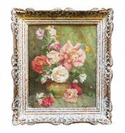 "Sale 8888H - Lot 46 - ""Bouquet roses"" by Lievin  Baert  Belgium 1898-1990 oil on canvas on board signed  30 x 25 cm"